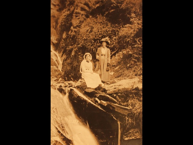 Elsie Shimmin (mother) and Georgina Frances Shimmin (nee Crellin) (grandmother), at Glen Helen Waterfall)