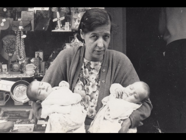 Ada Mills with twin daughters, Joan and Janet.