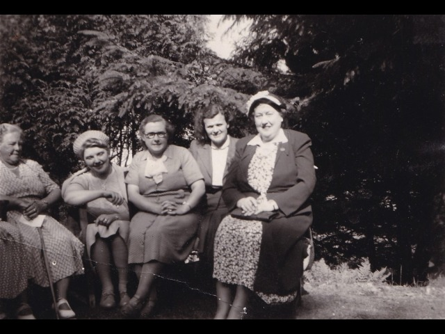 A Maughold Women's Institute gathering:<br> ?, Mrs Coole, Kathleen Faragher, Margaret Kerruish, Mrs Franklin</br> </br> <em>This picture is uploaded courtesy of Clare Christian and Anne Craine.</em>