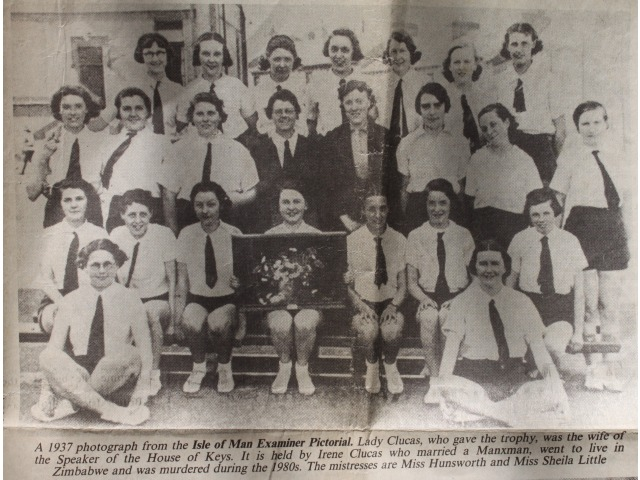 Mrs Betty Magee is sitting on the front row, first left behind the girl wearing glasses. Date unknown.