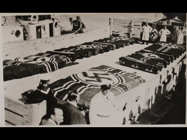 This photograph shows coffins of German sailors who lost their lives in the sinking of the 'Graf Spee' in 1939.