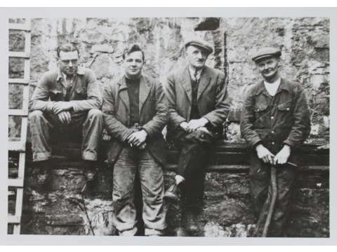 Some of the men who worked with Mr John Gawne in 1950 on the restoration of the 'Peggy' after it had been rediscovered. From left to right: Harry Harrison, John 'Buttons' Kelly, John Gawne and Bill 'Dingy' Bridson.
