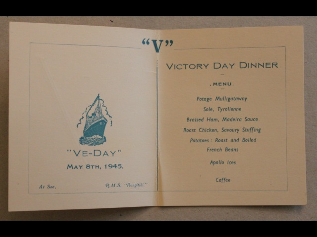 The inside of the VE Day dinner menu served on board the RMS 'Rangitiki' on the 8th May 1945
