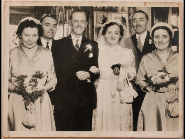 From left to right: Sister Ann Monkcaster, Matron of the Jane Crookall Maternity Home; George Skillicorn (brother of the bride); Mr Lionel Taggart; Mildred Ada Taggart n'e Skillicorn; Jackie Skillicorn (twin brother of the brider); and Evelyn Bell.