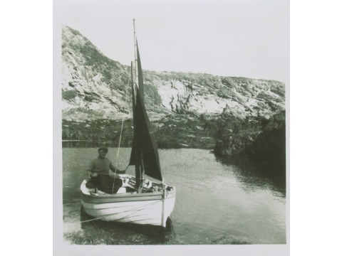 Mr John Gawne, who was involved in the rediscovery of the 'Peggy' and its restoration, sailing in Perwick bay on 26th September 1957