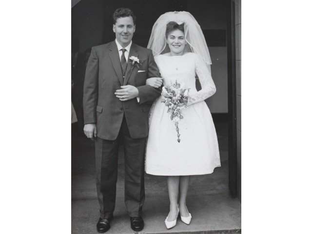 This photograph was taken on the couple's wedding on 16th November 1963. The wedding took place at St. Paul's Church, Ramsey.