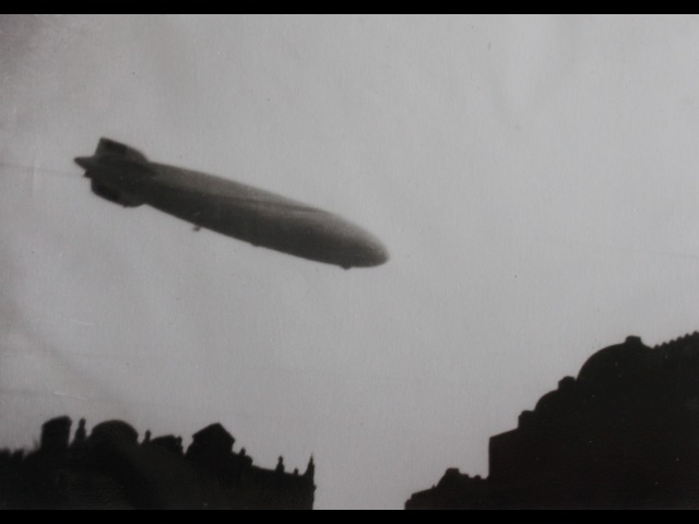 This is a copy of a photograph showing the Zeppelin 'Hindenburg' passing over Ramsey as seen by Tommy Cashen in 1936, aged 5 years.