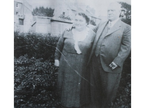Photocopy of original photograph showing Mr Charles Corkill's grandparents Charles and Hannah Corkill, taken in the mid 1930s in Arbory Street, Castletown. Grandfather Charles Corkill was Coroner for Rushen Sheading for many years