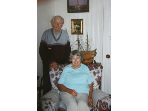 Mrs Jennifer Leece with her husband Eddie at their home in Peel c.2008
