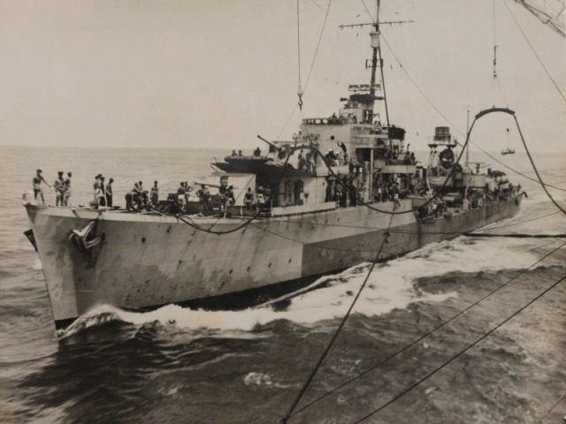 This undated photograph shows the vessel being refueled at sea during WWII. Mr Taggart was the only Manxman to have served on the HMS Quilliam during the war.