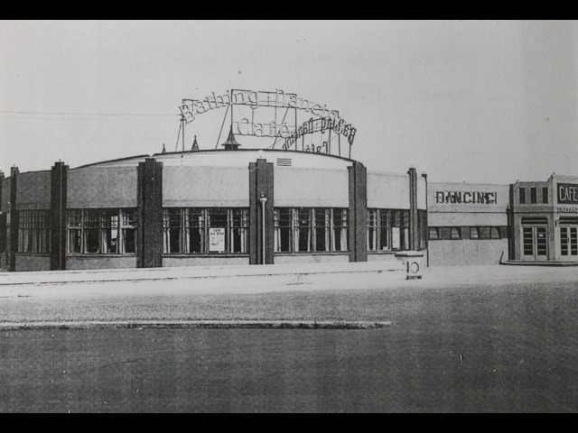This postcard shows the swimming baths in Ramsey, which was a popular venue with all nationalities of the airforce stationed in the Island during WWII.