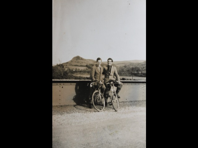 Tommy Cashen (on the left) with his brother Henry on their bikes at the Sulby Claddagh Bridge. Date unknown.