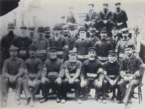 Photocopy of a photograph of the 'Rocket Brigade' comprising men of Castletown. Date unknown.