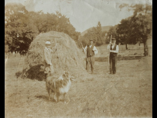 From left to right: Tommy Cashen's father William Thomas Cashen with dog in foreground. Tommy Cashen's grandfather is on the extreme right. Unidentified man in centre. Date unknown.