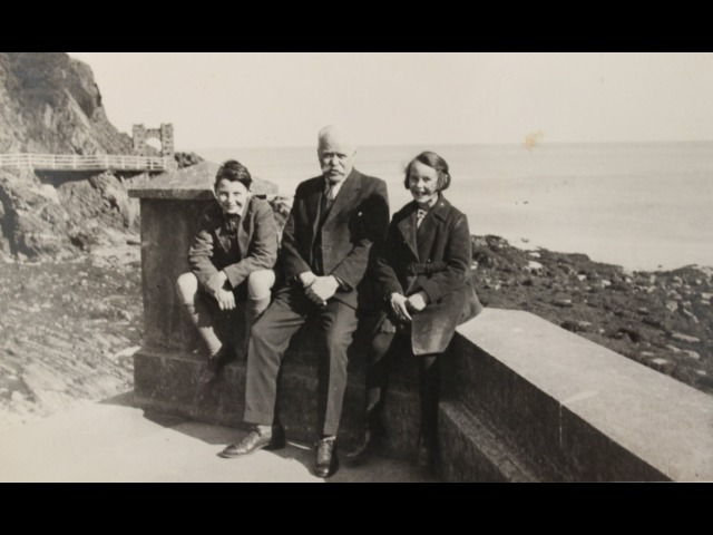 John Pickering, Thomas Forrester (grandfather of Ann and John) and Ann Pickering on the front at Port Soderick in the 1930s
