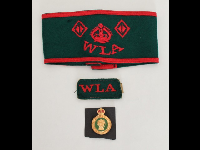 Ann Pickering's Land Army armband, shoulder epaulette and badge.