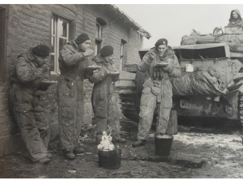 WWII soldiers eating