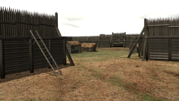 An artist's impression of what the fort might have looked like when it was in use. It's thought a wooden stockade ran around the top of the earthwork to give protection to those inside.