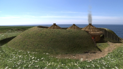 An artist's impression of what the site might have looked like when it was occupied.