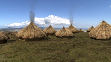 An impression of the summit with some of the thatched huts.